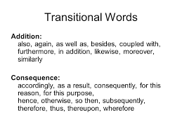 Transitional Words You Can Add Transitional Words To Writing