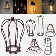details about vintage pendant trouble light bulb guard wire cage ceiling hanging lampshade