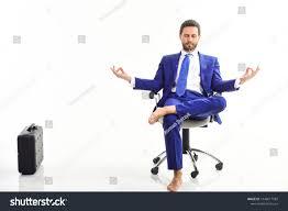 meditation businessman office. Man In Suit Or Businessman Sit On Office Chair And Meditate Meditation