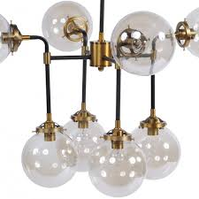 glass bubble black and brass chandelier