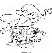 tool belt coloring page. vector of a cartoon christmas elf handy man - outlined coloring page drawing tool belt c