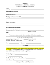 Fillable Online Whitebear K12 Mn Angel Fund Request White Bear