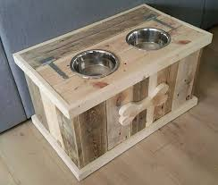 wood skid furniture. Pallet Dog Bowl Stand With Storage | Furniture Wood Skid R