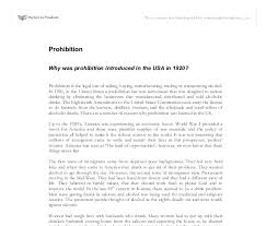 tips for writing the prohibition essays view and complete sample prohibition essays instructions works cited pages and more