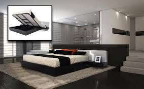 modern platform eastern king bed w storage