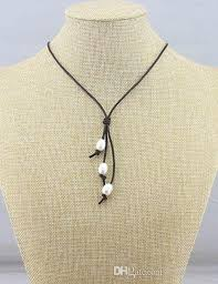 18 inch knotted single strand 3 pearl leather string jewelry with brown genuine leather cord necklace women