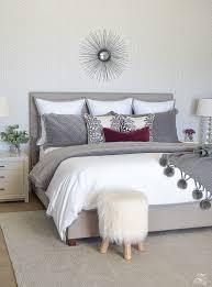 White master bedroom Luxury Neutralgrayandwhitebedroomgeometricwallpapergray Zdesign At Home Fallwinter Master Bedroom Updates Zdesign At Home
