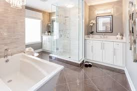 contemporary white luxury bathroom with glass shower
