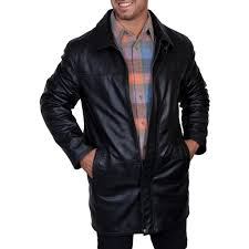 men s scully soft leather 3 4 length coat with zip out liner 600