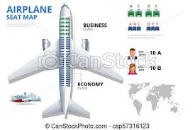 Chart Airplane Seat Plan Of Aircraft Passenger Aircraft Seats Plan Top View Business And Economy Classes Airplane Indoor Information Map Vector