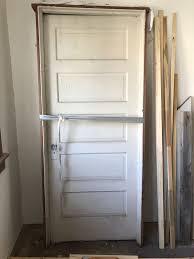 vintage 1910 antique wooden door with keyhole glass knob