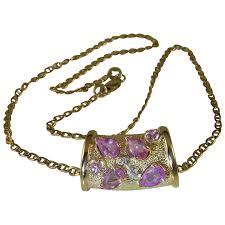 pink sapphire diamond pendant 14k yellow gold pendant pink ruby natural sapphire gem luxury jewelry