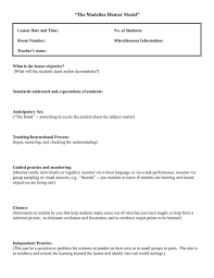 Sample Common Core Lesson Plan Awesome Madeline Hunter Lesson Plan Template Twiroo Com Lesson Plan
