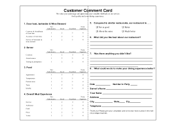 Comment Cards Customer Comment Cards