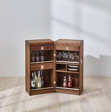Contemporary Bar Cabinet Walnut Cherrywood Stainless