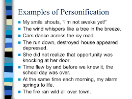 personification what word do you notice inside personification examples of personification
