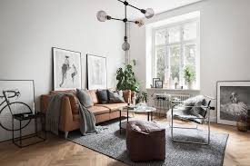 leather couch living room. Grey Scandinavian Living Room With A Tan Leather Sofa Couch N