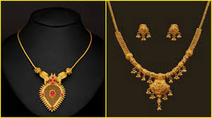 Small Gold Chain Designs With Price Light Weight Gold Short Necklace Designs