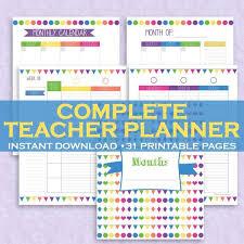 Teacher Organizer Planner Teacher Planner Teacher Organizer Classroom Planner Class Organizer 31 Printable Pages Letter Size