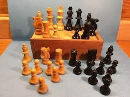 vintage staunton wood chess set wood box
