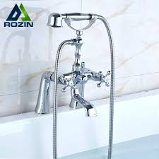 shower fixtures with handheld bright chrome deck mounted bathtub faucet mixers brass handheld shower dual handle swivel spout tub faucet outdoor shower