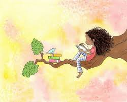 reading book drawing bluebird and with light brown curly hair writing the who of