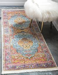 unique loom baracoa collection bright tones vintage traditional light blue runner rug 2 x 6