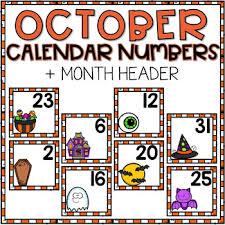 Free Printable Pocket Chart Cards October Calendar Numbers For Pocket Chart Cards