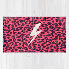 hipster neon pink leopard pattern thunder strike rug