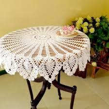 36 hand crochet round table cloth runner topper white pineapple cotton wedding white normal