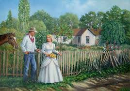 Cowboy And The Lady Painting by Wanda Coffey