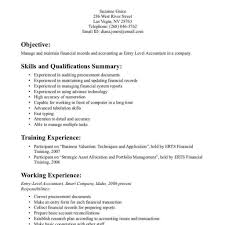 Accounting Objective Resume Entry Level Summary For Assistant
