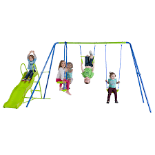 wondrous blue kmart swing sets with green slide mountain play