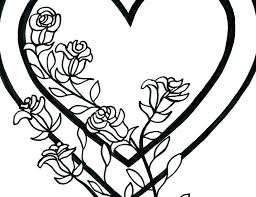 rose flower coloring pages roses coloring pages free printable flowers valentine hearts and hearts and roses