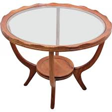 vintage round italian coffee table in walnut