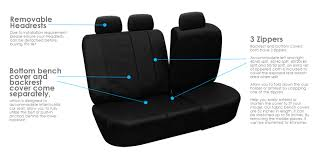 fh group black deluxe faux leather airbag compatible and split bench car seat covers full set com