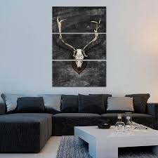 on large multi panel canvas wall art with large horns deer skull multi panel canvas wall art elephantstock