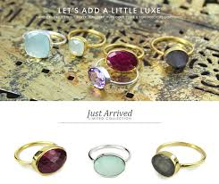 we ve just added new show stopping whole gemstone rings to our spring collection sterling silver mixed with mellow gold plate and striking faceted semi