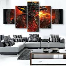 unframed canvas 5 panels wall art red dragon picture modern home decor bedroom from clearance