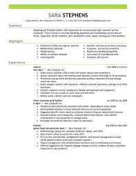Sample Resume For Cashier Position