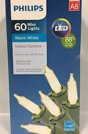Philips String Lights Philips Warm White Christmas Led Lights 60 Ct Green Wire 19 6 Ft Indoor Or Outdoor Tree Decoration Weather Resistant