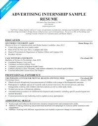 Summer Internship Resume Internship Resume Template Advertising Student Summer Job