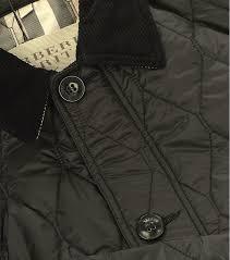 burberry check detail diamond quilt jacket in black for men lyst