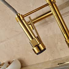 Pull Down Spray Kitchen Faucet Deck Mounted Gold Finish Kitchen Sink Faucet With Pull Down Sprayer