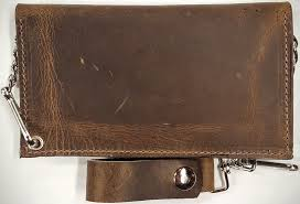 back view chain wallets oil tanned crazy horse leather