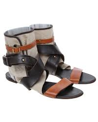 chloe brown leather and canvas gladiator sandals uk 7 5 image
