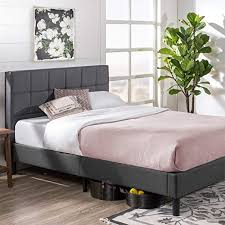 Zinus Lottie Upholstered Platform Grey Bed Frame ... - Amazon.com
