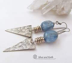 modern silver earrings with kyanite gemstones bold edgy handmade silver jewelry