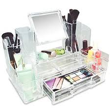amazon ikee design cosmetic makeup box organizer storage with removable mirror home kitchen