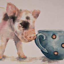 animals painting teacup pig by teresa silvestri